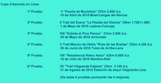 Carreras Montaña Asturias 2016 Copa d´Asturies Carreras en Línea