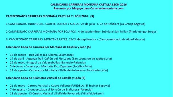 Carreras Montaña Castilla Leon 2016: Resumen Calendario, por Mayayo.