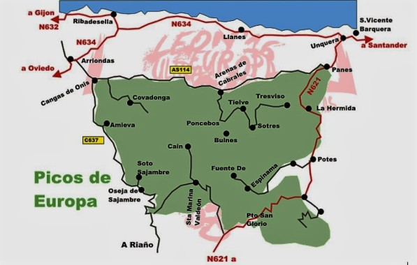 Picos de Europa: Mapa general localización.