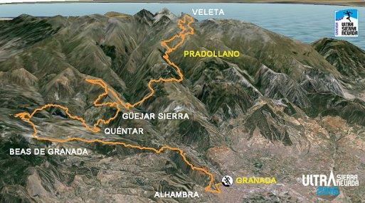 Ultra Sierra Nevada 2016 Mapa 103km -