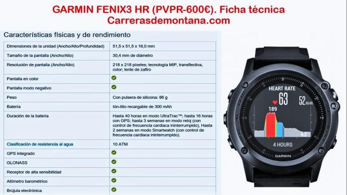 Garmin Fenix3 HR reloj gps Ficha técnica oficial 2