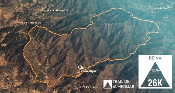Trail Almedíjar 2016: Mapa carrera Reina 26k/D+1300m