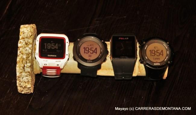 Reloj gps: Garmin FR920XT, Suunto Ambit3 Vertical; Polar V800; Suunto Ambit3 Peak.