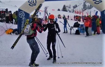 Kilian Jornet y Matheo Jacquemoud celebran su victoria en Altitoy.