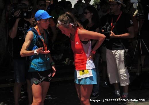 Anna (2ª) y Emelie (1ª) repasando la Transulcania 2015