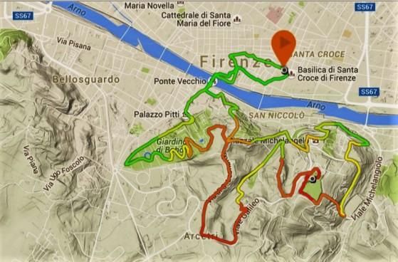 Firenze urban trail: Mapa 13k nocturnos