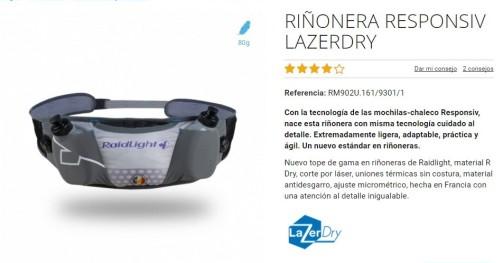 Riñonera Raidlight responsiv lazerdry ficha técnica oficial