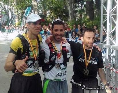 Podio 101k Ronda 2016. Capó, Calleja y Castañoo exaequo