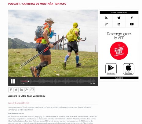 Radio trail en Maratonradio 27jun16 Previa Ultra trail valls d´Aneu 2016
