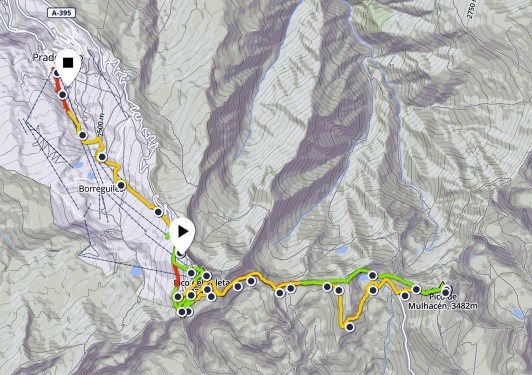 Ruta sierra Nevada Pradollano Veleta y Mulhacén perfil por Mayayo en circuito