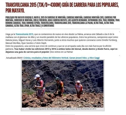 guias carreras montaña mayayo mTransvulcania 2015