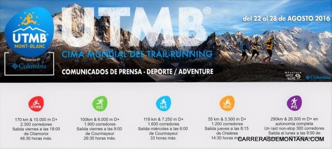 UTMB 2016 Programa carreras PTL OCC TDS CCC UTMB