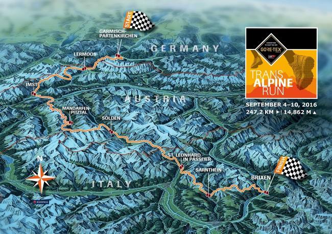 Transalpine goretex 2016: Mapa de carrera