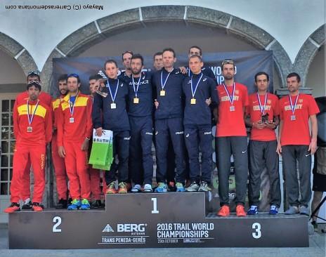 Podio equipos masculinos Mundial IAU trail 2016. Foto Mayayo