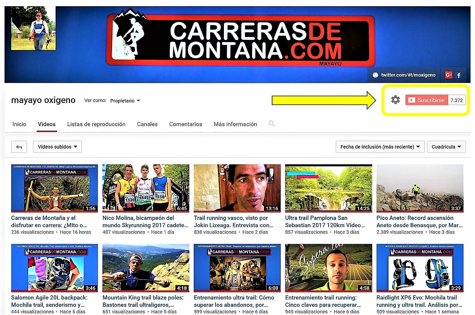 VIDEOS TRAIL RUNNING EN NUESTRO CANAL YOUTUBE (2008-17): Pruebas material, entrevistas y las mejores carreras
