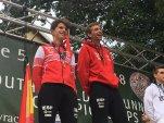 Dani Osanz y Nico Molina en el podio junior (youth b) Mundial Kilometro vertical